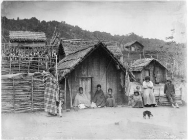 Image: Maori group outside whare in Atene - Photograph taken by Wrigglesworth & Binns