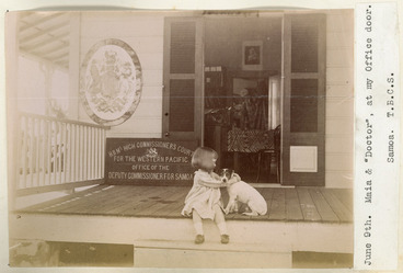 Image: Maia Cusack Smith and a dog, Samoa