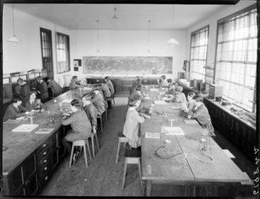 Image: Students in science laboratory at Samuel Marsden School, Karori, Wellington