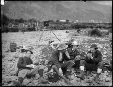 Image: Group including photographer William Williams, Wainuiomata