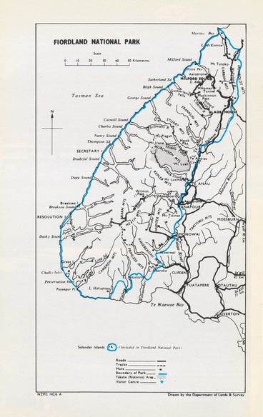 Image: Fiordland National Park / drawn by the Department of Lands & Survey.