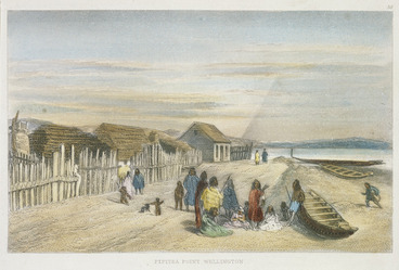 Image: [Brees, Samuel Charles] 1810-1865 :Pipitea Point, Wellington [Between 1842 and 1845] Engraved by Henry Melville. Drawn by S C Brees. [London, 1847]