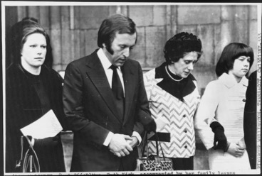Image: Television personality David Frost assisting Mrs Ruth Kirk and her daughters from Westminster Abbey, London, England, after a memorial service for the late Prime Minister Norman Kirk