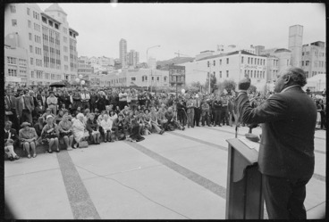 Image: Prime Minister Norman Kirk speaking in Civic Square, Wellington