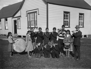 Image: Group of school students from Ahipara School, playing musical instruments
