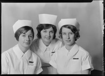 Image: Three nurses, including Nurse Talbot, Wellington Hospital, State Final, May 1965