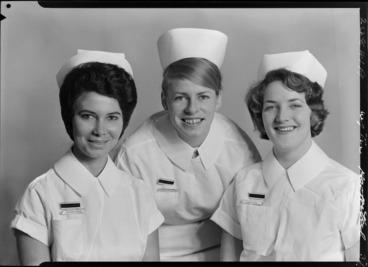 Image: Nurse Mould, Nurse Hay-Chapman, Nurse Hazelman, Wellington Hospital, State Final, May 1965