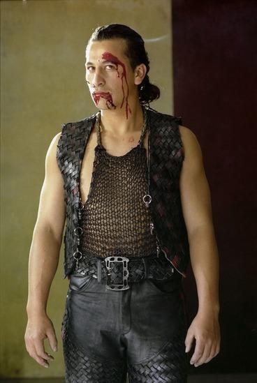 Image: Once were warriors actor Julian Arahanga in Nig Heke costume and blood makeup
