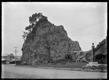 Image: Pohaturoa Rock at Whakatane, showing the memorial to Te Hurinui Apanui.