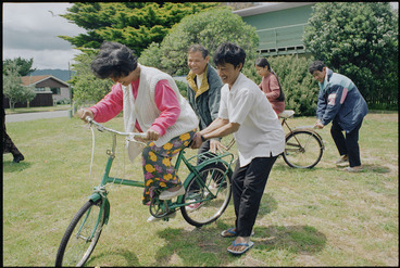 Image: Cambodian refugees learning to ride bicycles in Waikanae - Photograph taken by Melanie Burford