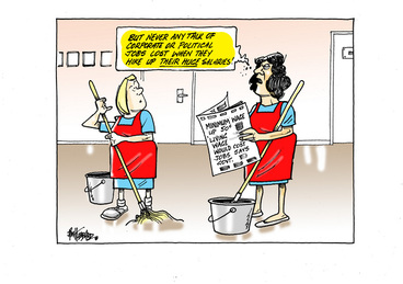 Image: Two cleaners discuss the effects of the minimum wage increase