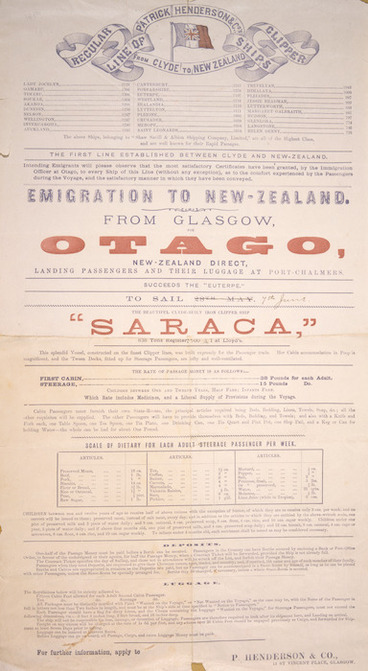 "Image: Patrick Henderson & Co. :Emigration to New Zealand from Glasgow. The beautiful Clyde-built iron clipper ship ""Saraca"" / P Henderson & Co. [1884]."