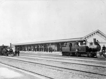 Image: Lambton Station, Wellington, and two steam locomotives