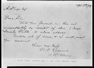 Image: Letter signed by P C Redwood, alias Amy Bock