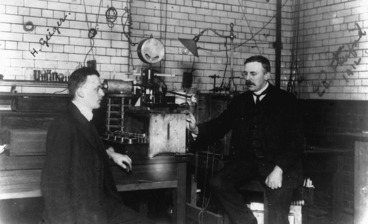 Image: Ernest Rutherford and Hans Geiger, physics laboratory, Manchester University, England