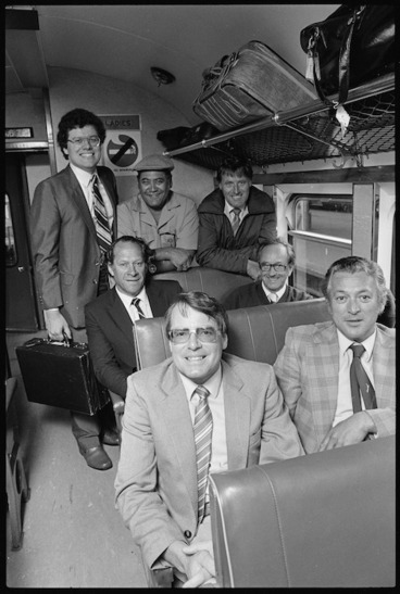 Image: Labour Party caucus members on a train in Wellington - Photograph taken by Ross Giblin