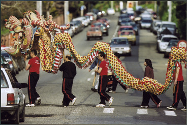 Image: Chinese dragon being carried across a pedestrian crossing, Wellington - Photograph taken by Craig Simcox