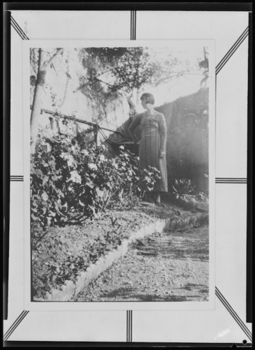 Image: Katherine Mansfield standing in the garden at the Villa Isola Bella at Menton, France