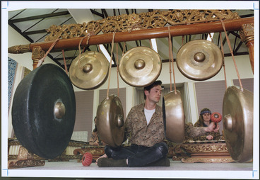 Image: Wellington composer Gareth Farr playing the gamelan - Photograph taken by Phil Reid
