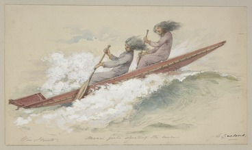 Image: Strutt, William, 1825-1915 :Maori girls shooting the waves. N. Zealand. [1855 or 1856]