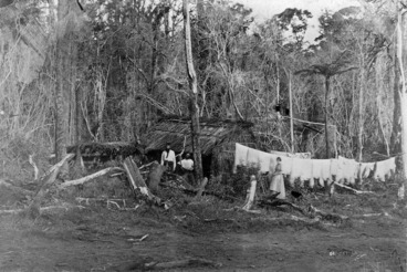 Image: Scene in the bush showing a thatched hut, three people, and washing on a line