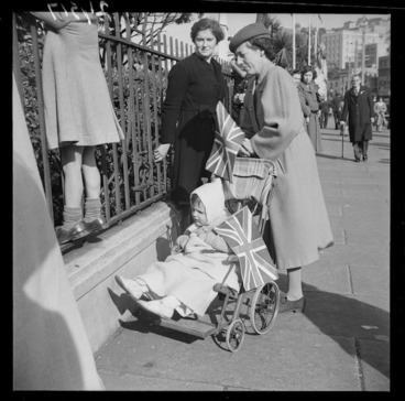 Image: Women, with a child in a pram, on VE day, Wellington