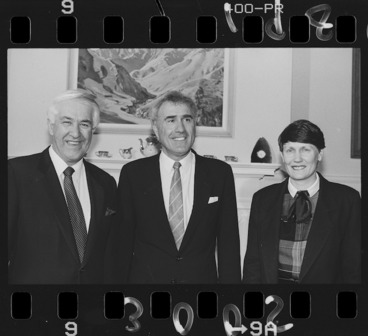 Image: Geoffrey Palmer, Helen Clark and Sir Paul Reeves at Government House, Wellington - Photograph taken by John Nicholson