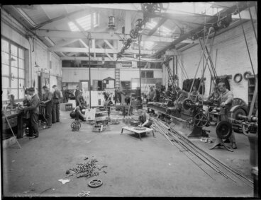 Image: Turnbull and Jones, electrical engineers, staff at work in workshop, Christchurch