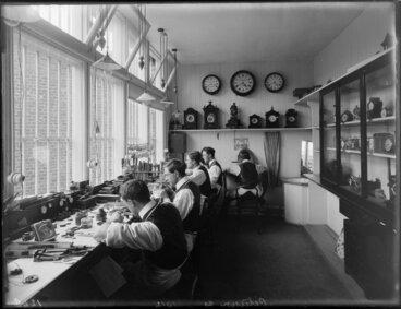 Image: B Petersen, jeweller, workshop interior, Christchurch