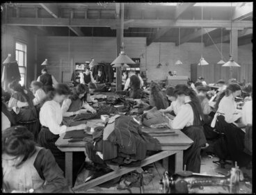 Image: Tailoresses at work, clothing factory, Christchurch