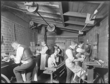 Image: Workers in the workshop of Automatic Stamping Company