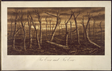 Image: Young, W., fl 1917 :For ever and for ever. ANZAC. W. Young, 14. 4. [19]17. Wellington, C. M. Banks Ltd Chromolithos. [ca 1918?]