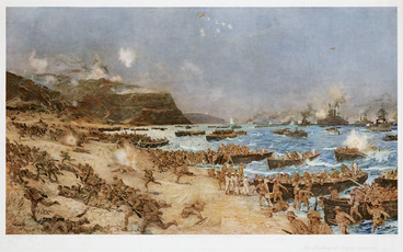 Image: Dixon, Charles Edward, 1872-1934 :The landing at Anzac; April 25th, 1915. London, The Fine Art Society, 1916
