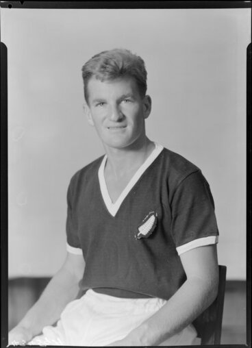 Image: Mr J A Evans, member of New Zealand representative soccer team, New Zealand Football Association world tour of 1964