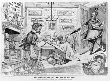 Image: What, dinner not ready yet! What have you been doing?, a cartoon by William Blomfield