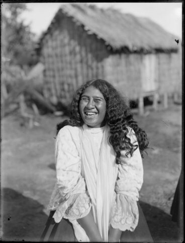 Image: Unidentified Maori woman laughing
