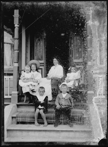 Image: Woman and children of Nicol family on verandah