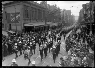 Image: Military parade with brass band, Willis St., Wellington
