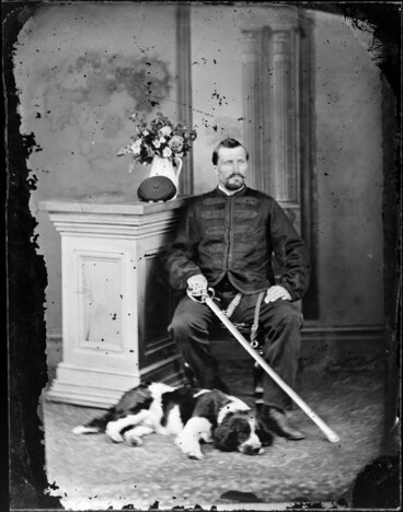 Image: Mr Hiscox, with dog and sabre