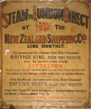 Image: Steam to London direct, by the New Zealand Shipping Co's line monthly. 1883.