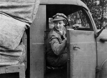 Image: Woman driving a post and telegraph truck during World War II