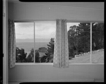 Image: Looking out living room windows, Jim Dawson house
