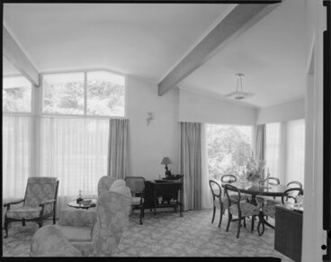 Image: Living room interior, Farrell house, Lowry Bay, Eastbourne, Lower Hutt