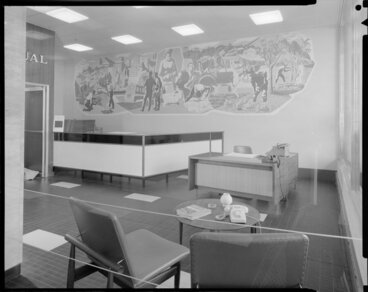 Image: National Mutual Life Assurance, offices, reception area with mural, Wellington