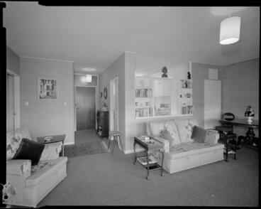 Image: Living room in Herbert Gardens Flats, The Terrace, Wellington