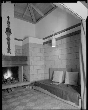 Image: Lounge with open fire, Jim Beard's house, Waikanae, Kapiti Coast