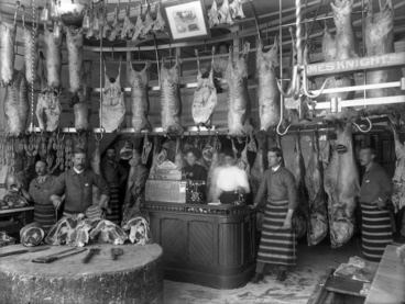 Image: Interior of James Knight's butchers shop in Christchurch