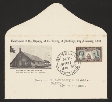 Image: [New Zealand Post Office] :Centennial of the Signing of the Treaty of Waitangi, 6th February, 1840. Waitangi carved memorial meeting house, Bay of Islands [First day cover. 1940]
