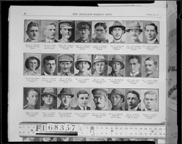 Image: Roll of honour; Portraits of New Zealand soldiers killed, wounded, or missing at Gallipoli, Turkey
