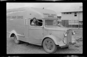Image: Unidentified woman with the Country Library Service van, Kawerau